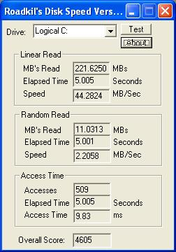 Roadkil's Disk Speed screenshot